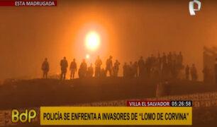 Lomo de Corvina: invasores se enfrentan con la Policía para evitar ser desalojados
