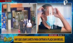 Plaza San Miguel: permiten ingreso solo a personas que usen protector facial