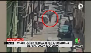 Independencia: mujer fue arrastrada 15 metros por ladrones que la asaltaron en mototaxi