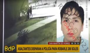 Balacera en SMP: asaltantes disparan a policía para robarle 200 soles