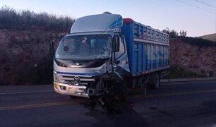 Choque entre auto y camión deja un muerto y un herido grave en la vía Juliaca-Arequipa