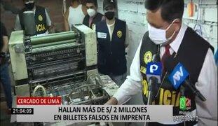 PNP interviene imprenta clandestina y halla casi 3 millones de soles falsos