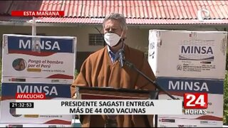 Sagasti llevó más de 44 mil vacunas contra la COVID-19 a Ayacucho