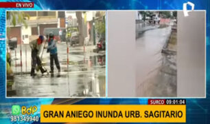 Surco: vecinos reportan aniego por rotura de tubería de agua potable