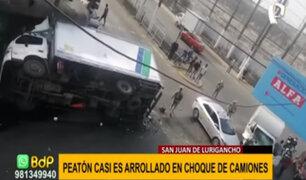SJL: semáforo malogrado provoca violento choque entre camión y furgoneta