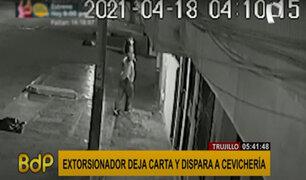 Trujillo: cámara capta a extorsionador disparando frente a un negocio