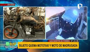 SMP: buscan identificar a sujeto que quemó mototaxi y moto