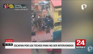 Cusco: jóvenes se escapan por los techos tras intervención en fiesta COVID