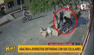 SJM: delincuentes asaltan a jovencitas distraídas con sus celulares