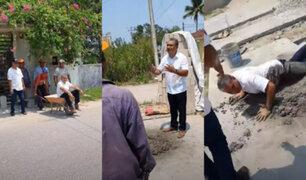 ¿Broma o mala intención? albañiles lanzan al cemento fresco a un candidato a la alcaldía