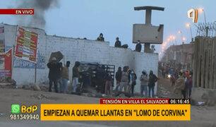 Lomo de Corvina: invasores queman llantas y se organizan ante posible desalojo
