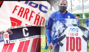 Jefferson Farfán recibió camiseta conmemorativa por sus 100 partidos