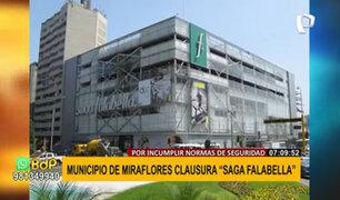 Miraflores: clausuran tienda Saga Falabella por incumplir normas de seguridad