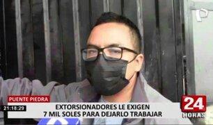 Puente Piedra: empresario denuncia que extorsionadores le piden 7 mil soles para dejarlo trabajar