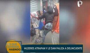 Mujeres atrapan y le dan paliza a delincuente