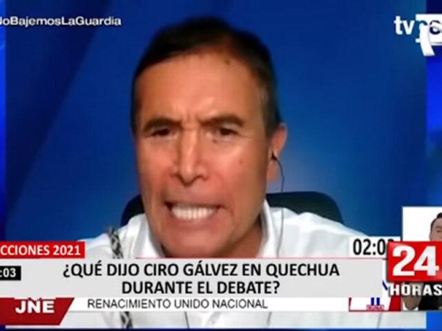 ¿Qué dijo el candidato presidencia Ciro Gálvez en quechua durante el debate?