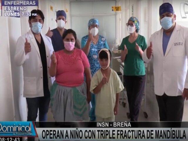 Niño con triple fractura de mandíbula es operado exitosamente en el INSN