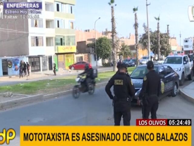 Los Olivos: presuntos sicarios asesinan a mototaxista de cinco balazos