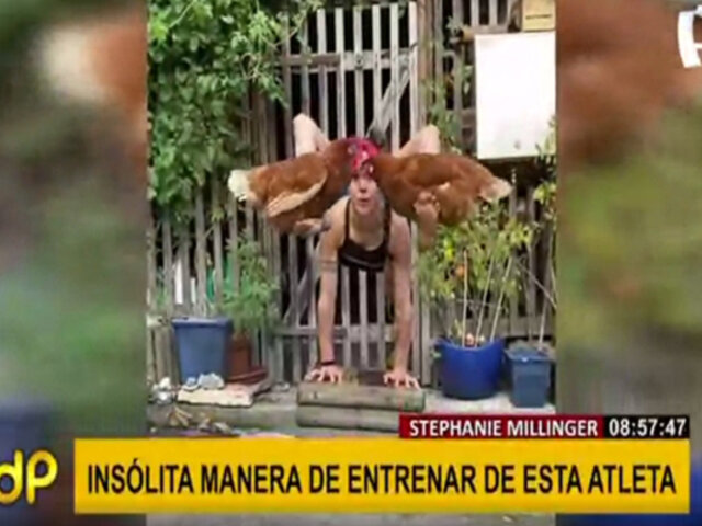 Stefanie Millinger: deportista extrema realiza contorsiones cargando gallinas