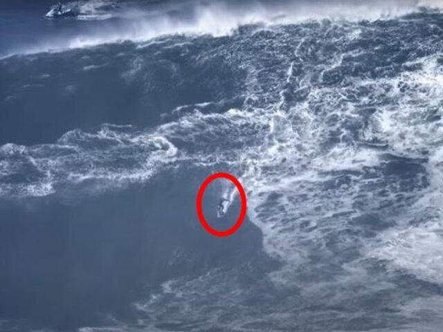 Portugal: joven de 18 años habría surfeado ola de 30 metros de altura