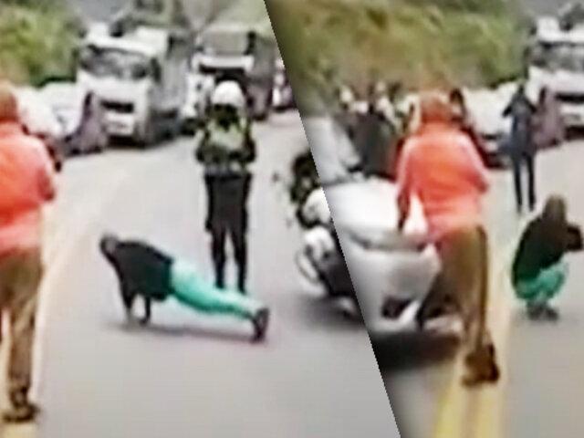 Huancayo: policía castigó a un conductor infractor obligándolo a realizar ejercicios físicos