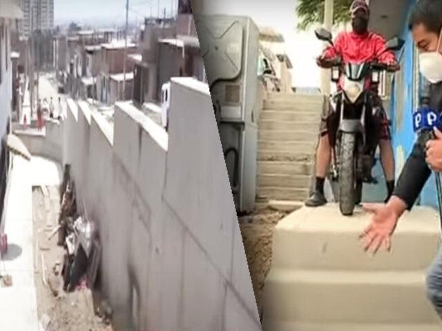 VES: muros y veredas mal edificadas impiden a vecinos salir de sus viviendas