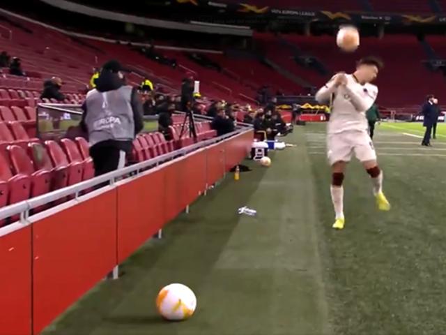 Europa League: recogebolas tira pelotazo en la cara a jugador de la Roma