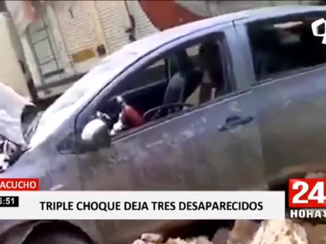 Ayacucho: triple choque deja tres desaparecidos