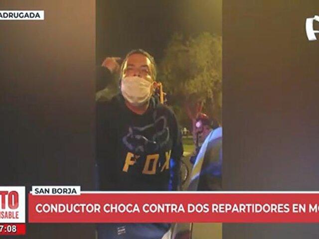 San Borja: conductor choca a dos conductores de moto y los insulta