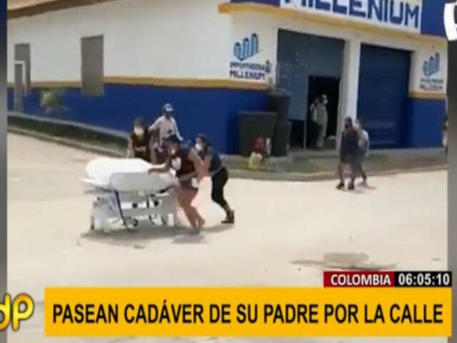 Colombia: sacan cadáver de hospital y lo trasladan en camilla por la calle a la morgue