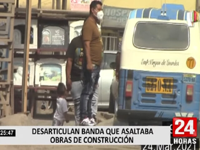 PNP desarticuló banda que asaltaba obras de construcción