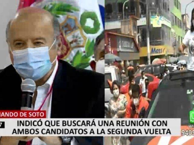 Hernando de Soto buscará reunirse con Pedro Castillo y Keiko Fujimori