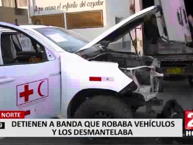 Cae banda que robaba y desmantelaba vehículos en Lima Norte