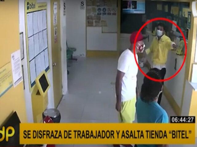 VMT: sujeto se disfraza de trabajador para robar conocida tienda de celulares