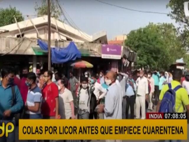India: hacen largas colas para comprar licor antes de inicio de cuarentena