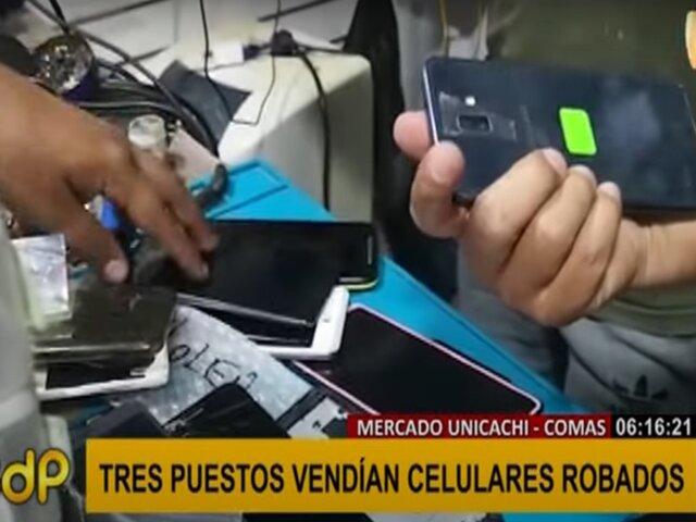 Comas: PNP incauta más de 50 celulares robados que eran vendidos en mercado Unicachi