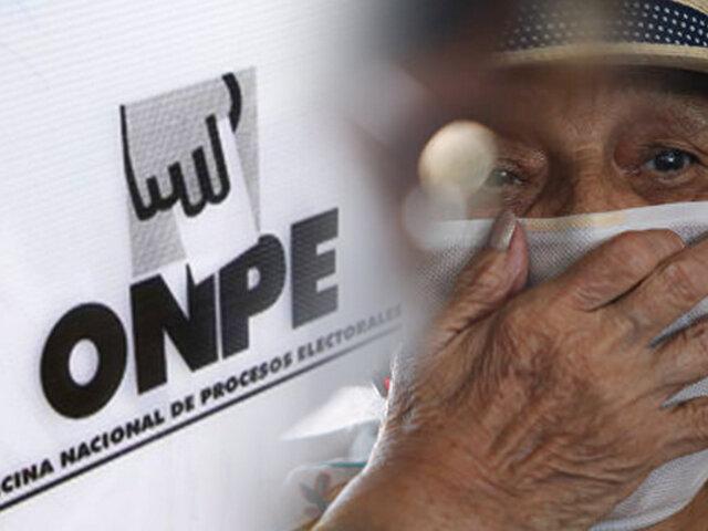 ONPE: Adultos mayores votarán de 2 a 4 de la tarde