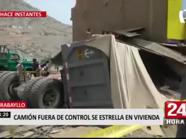 Camión fuera de control se estrella contra vivienda en Carabayllo