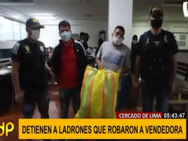 Cercado de Lima: capturan a sujetos que robaron a vendedora ambulante