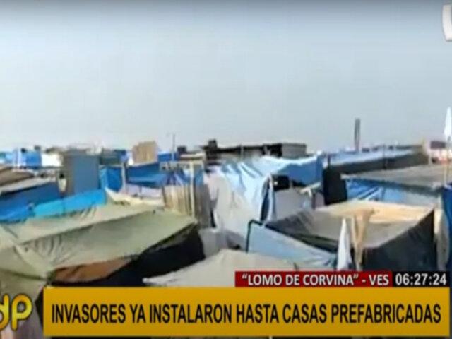 Lomo de Corvina: instalan carpas y casas prefabricadas en terreno invadido