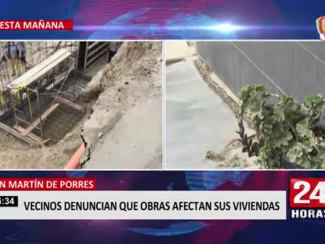 SMP: vecinos denuncian que obras afectan sus viviendas