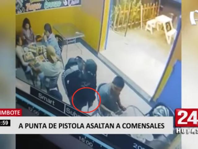 A punta de pistola asaltan a comensales en Chimbote