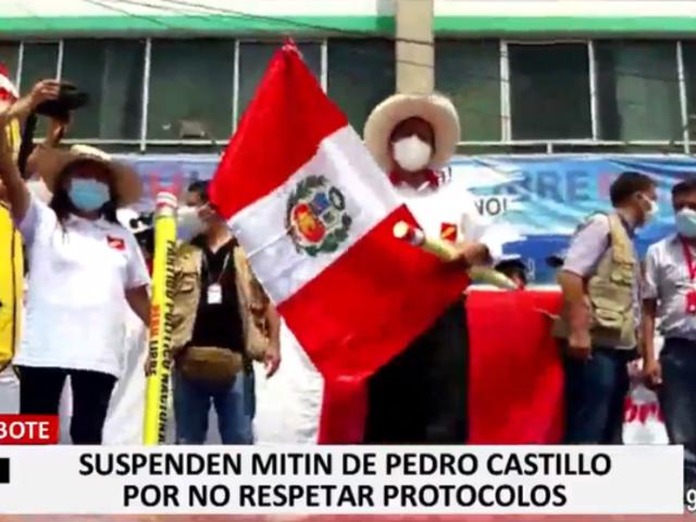 Pedro Castillo: PNP suspende mitin en Chimbote por infringir normas sanitarias
