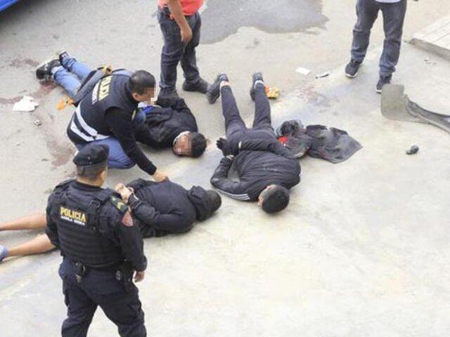 Tras intensa persecución capturan banda que asaltó un local de venta de llantas en Ancón