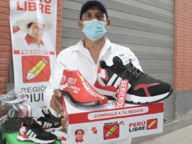 Piura: empresario fabricó zapatillas inspiradas en el candidato de Perú Libre