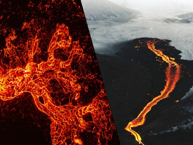 Imágenes espectaculares: Dron graba erupción de volcán en Islandia