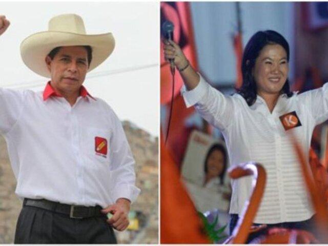 Datum: distancia entre Keiko Fujimori y Pedro Castillo se acorta a cinco puntos