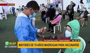 Vacunación contra el COVID-19: continúa inmunización de mayores de 70 en 'Limatambo'