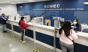 Reniec pide a los ciudadanos respetar las citas programadas para evitar las aglomeraciones