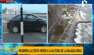 Costa Verde: reabren tramo cerrado tras deslizamiento de rocas y piedras